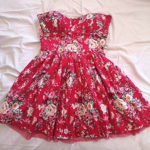 Twenty One Floral Red Strapless Dress